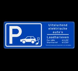 Verkeersbord parkeren elektrische voertuigen + tarieven - BE04h BE04h E08o - oplaadpunt -, Laadtarieven, elektrische, voertuigen, Pijlen links - rechts - omlaag, Parkeerbord, parkeerplaats, eigen plaats, parkeren, RVV E04, p bord, BW101 SP19 - autolaadpunt, autolaadpunt, oplaadpalen, oplaadpaal, BE04, elektrisch, Opladen, Laadpaal
