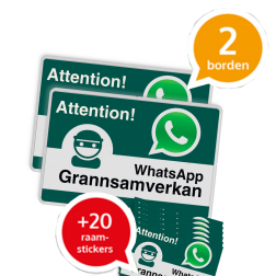 WhatsApp - Sweden - Grannsamverkan SET - 2 borden + 20 stickers - L209wa