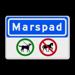 Informatiebord Straatnaam + verbodstekens C15, C14, C13, C11, invalide