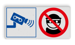 Veiligheidsbord met instructies | 2 symbolen liggend boef, crimineel, stelen, camera, video, dief, verboden, bewaking, bescherming, eigendommen