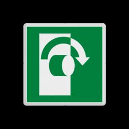 Product E019 - Draai rechtsom om te openen Vluchtroute bordje E019 - Draai rechtsom om te openen rechts, schakelen, omzetten, in wijzerzin draaien, vluchtroutebord, reddingsmiddelbord, vluchtroutebord, reddingsmiddelbord, evacuatie, evacuatiebord, veiligheidspictogram, veiligheidsbord, Nooduitgang pictogrammen, Vluchtrouteaanduiding, Verzamelplaats pictogram, Reddingspictogram, nooduitgang symbool, teken, icoon, symbolen, reddingsborden, bhv bord