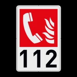 Brand bord F006 - Telefoon voor brandalarm met tekst Telefoon - Brandweer, 112, brandtelefoon, brandalarm, F006, B05, redding, evacuatie