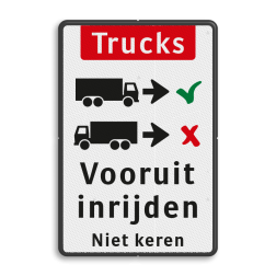 Informatiebord Vrachtwagens vooruit inrijden of inparkeren Informatiebord - vrachtwagens vooruit inrijden BT16b-NL trucks, engels, achteruit, inparkeren, vrachtwagen, Front-in, No turnaround, vooruit, inrijden, niet, keren