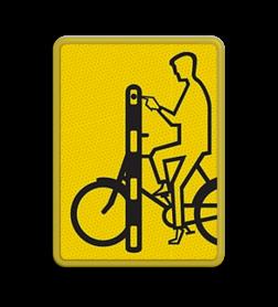 Verkeersbord Model VR01 geel/zwart - 200x270mm - Fietsers Fluor geel / gele rand, (RAL 1023 - geel), Hier uw eigen, tekstregels, klik op bewerken >