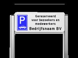 Parkeerplaats bord type TS - Parkeren gereserveerd bezoekers & medewerkers bedrijfsnaam cadeau, kado, Parkeerbord, parkeerplaats, eigen plaats, parkeren, RVV E04, p bord, bezoekers, medewerkers, personeel, bedrijf