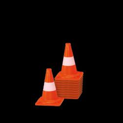 Afzetkegel/pylon 200mm - set van 10 stuks - oranje/wit pion, pionnen, kegels, pilon, oranje, hoedje, afzet, verkeer, kegel, pylon