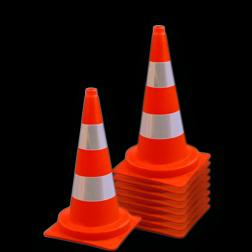 Afzetkegel 500mm - set van 10 stuks - oranje/wit reflecterend pion, pionnen, kegels, pilon, oranje, hoedje, afzetkegel, verkeerskegel, pylon, kegels