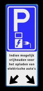 Verkeersbord parkeren elektrische voertuigen + pijlen - parkeerplaats vol? E08o - oplaadpunt -, Opladen, elektrische, voertuigen, Pijlen links - rechts - omlaag, Parkeerbord, parkeerplaats, eigen plaats, parkeren, RVV E04, p bord, BW101 SP19 - autolaadpunt, autolaadpunt, oplaadpalen, oplaadpaal, BE04, elektrisch, Opladen, Laadpaal