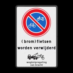Verkeersbord Parkeerverbod (brom)fietsen + wegknipregeling Verkeersbord E3 (brom)fietsen worden verwijderd + wegknipregeling parkeerbord, verboden te stallen, parkeerverbod, wegknipregeling, fiets, brommer, E3, fluor, verwijderen