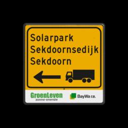 Routebord vierkant bouwverkeer + logo Tekstbord, gevaar, J37 , nijhuis