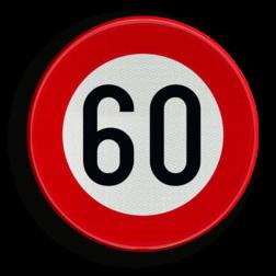 Verkeersbord C43: Vanaf het verkeersbord tot het volgend kruispunt, verbod te rijden met een grotere snelheid dan deze die is aangeduid. Verkeersbord België C43 - Vanaf het verkeersbord tot het volgend kruispunt, verbod te rijden met een grotere snelheid dan deze die is aangeduid C43 verbodsbord, snelheid, verboden