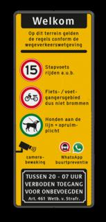 Toegangsbord bedrijventerrein met regelgeving Wit / groene rand, (RAL 6024 - groen), Eigen terrein, V.v.E. 't Hol, A01-10, C07, C20-vrij invoerbaar, E01, parkeren alleen, in de vakken, Wielklem + txt, Verboden toegang