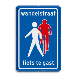Verkeersbord Wandelstraat, fietsers te gast Verkeersbord RVV L54b - Wandelstraat L51 Fietsstraat, fietsweg, Fietsweg, Fiets