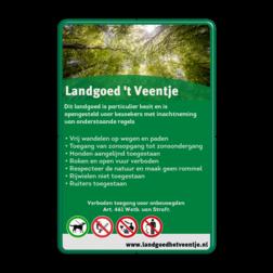 Toegangsbord Landgoed + full colour opdruk Groen RAL6024 / wit, (RAL 6024 - groen), Natuur - bossen, Achtergrond, Landgoed Hulligen, - Toegang van zonsopgang, tot zonsondergang. , - Vrij wandelen op wegen en paden, - Honden aan de lijn., - Roken en open vuur verboden., www.lghulligen.nl, Verboden te BBQ'en, 02-Open vuur verboden, Toegestaan - Honden aan de lijn