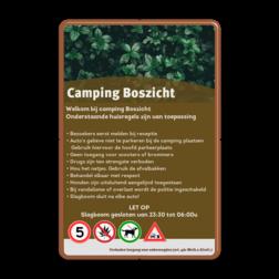 Informatiebord huisregels voor camping / vakantiepark Grijs RAL7042 / wit, (RAL 7042 - grijs),   Uw eigen foto uploaden, Achtergrond, Hier uw eigen aanhef , Totaal heeft u ruimte , voor 8 tekstregels, Onderstaande pictogrammen, mag u zelf wijzigen en aanpassen, of verwijderen!, Hier ruimte voor een voetnoot....., Verbodente camperen (tent / caravan), Verboden vuurwerk af te steken, Verboden duiven te voeren