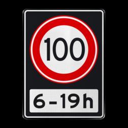Verkeersbord Maximumsnelheid 100 kilometer per uur tussen 06 en 19 uur Verkeersbord RVV A01 100 OB201ps - Maximum snelheid 100 km/h A01100OB201ps RWS, Rijkswaterstaat, snelheidsbord, snelheidbord, 100 km bord, snelheid, A1, maximumsnelheid, maximum snelheid, maximalesnelheid, maximale snelheid, tijdsvak, tijdszone