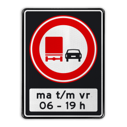 Verkeersbord Verbod voor vrachtauto's om motorvoertuigen in te halen tussen 06 en 19 uur Verkeersbord RVV F03 OB206ps - Inhaalverbod vrachtauto's F03OB206ps RWS, Rijkswaterstaat, inhalen, vrachtwagen, vrachtwagens, voorbij rijden tijdsvak, tijdszone