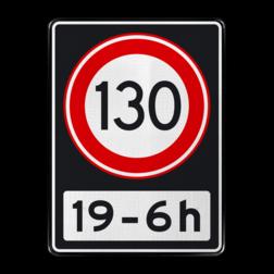 Verkeersbord Maximumsnelheid 130 kilometer per uur tussen 19 en 6 uur Verkeersbord RVV A01 130 OB201ps - Maximum snelheid 100 km/h A01130OB201ps RWS, Rijkswaterstaat, snelheidsbord, snelheidbord, 130 km bord, snelheid, A1, maximumsnelheid, maximum snelheid, maximalesnelheid, maximale snelheid, tijdsvak, tijdszone