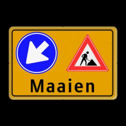 Verkeersbord Maaien - Werk in Uitvoering Fluor geel / gele rand, (RAL 1023 - geel), Hier uw eigen, tekstregels, klik op bewerken >