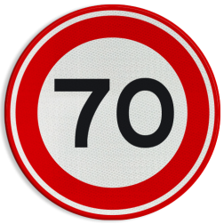 Verkeersbord Maximum toegestane snelheid 70 kilometer per uur Verkeersbord RVV A01-070 - Maximum snelheid 70 km/h A01-070 snelhiedsbord, snelheidbord, 70 km bord, snelheid, zonebord, einde, 70 km per uur, A1, maximumsnelheid, maximum snelheid, maximalesnelheid, maximale snelheid