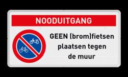 Product geen (brom)fietsen plaatsen i.v.m. nooduitgang vrijhouden Geen (brom)fietsen plaatsen RVV E03 + Banner Parkeerverbod, E1, verboden, parkeren, onbevoegden, artikel, 461, uitgezonderd