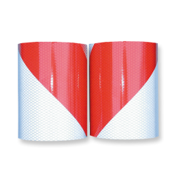 Markeertape reflecterend klasse 2 - 141mm - links/rechts rood wit lint, afzetlint