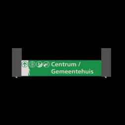 Verwijsbord VOETGANGERS RAL7016 1000x200 + reflex | Niveau -1 wit/groen| Montagestukken 80x80x400mm