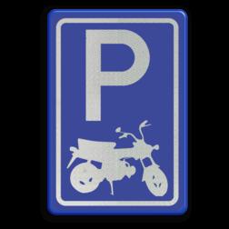 Logobord blauw/wit RECHTHOEK - P cadeau, kado, zelf tekstbord maken, tekst invoeren, blauw bord