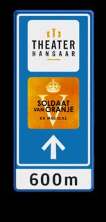 Bewegwijzering 600x1500x28mm - TheaterHangaar + logo + pijl Soldaat van Oranje, Theaterhangaar, ANWB