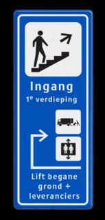 Informatiebord route - ingang - expeditie en lift trap, ingang, voetganger