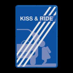 Informatiebord Zone voor parkeergelegenheid ten behoeve van het afzetten van iemand, Het zogenaamde zoen en zoef verkeersbord Informatiebord kiss & ride FC eigen ontwerp- einde - L52e kiss, ride, kiss&ride, kiss ride,k+r, eigen ontwerp, schoolplein, speciale borden,  zoen en zoef, L52, L52b, L52