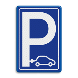 Verkeersbord Parkeergelegenheid alleen bestemd voor voertuigcategorie, of groep voertuigen, die op het bord is aangegeven Verkeersbord E08 elektrische auto - NOS stoep, parkeerplek, parkeerplaats, auto, electrisch, E8