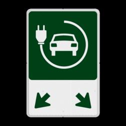 Parkeerplaatsbord - Elektrische voertuigen + pijlen Elektrische auto's, laden, 2 plaatsen, in huisstijl