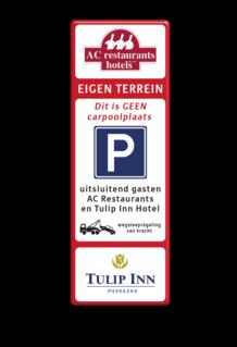 Tekstbord LET OP! Het getoonde bord is een voorbeeld, en kan NIET zo besteld worden. Hierop rust auteursrecht. U kunt uw eigen ontwerp aanleveren. Tekstbord 520x1520mm LOGO-et-2txt-E04-3txt-wsr- LOGO verboden toegang artikel 461, eigen terrein, parkeerterrein, wegsleepregeling, parkeerverbod, E1, AC restaurants, Tulip inn,