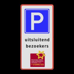Verkeersbord LET OP! Het getoonde bord is een voorbeeld, en kan NIET zo besteld worden. Hierop rust auteursrecht. U kunt uw eigen ontwerp aanleveren. Verkeersbord 1:2 RVV E04 + eigen tekst + logo parkeerbord, eigen terrein, geel, RVV E04, parkeren,  vrij invoerbare tekst, E4, in de vakken
