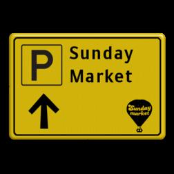 Verkeersbord WIU geel/zwart Sunday Market Tekstbord, WIU bord, tijdelijke verkeersmaatregelen, werk langs de weg, omleidingsborden, tijdelijk bord, werk in uitvoering, 3 regelig bord