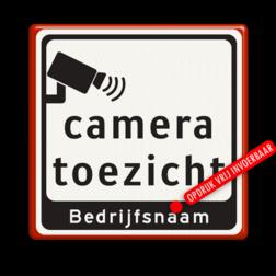 Tekstbord Camera toezicht + bedrijfsnaam Tekstbord Cameratoezicht | Bedrijfsnaam - BP07 parkeren, logobord, camera, bewaking, stichting criminee, beveiliging, secure lane,