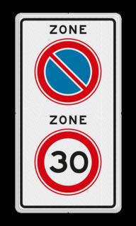 Verkeersbord RVV A0130E01zb - ZONE bord begin parkeren, maximum snelheid, eigen tekst, A01, ZONE, parkeren verboden, A01-30, maximumsnelheid, maximalesnelheid, maximale snelheid, snelheidsbord
