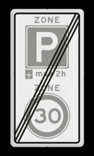 Verkeersbord RVV A0130E10-2ze - ZONE bord einde parkeren, maximum snelheid, eigen tekst, A1, E4, ZONE, einde zone, parkeer, maximumsnelheid, maximum snelheid, maximalesnelheid, maximale snelheid