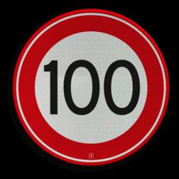 Verkeersbord Maximum toegestane snelheid 100 kilometer per uur Verkeersbord RVV A01-100 - Maximum snelheid 100 km/h A01-100 snelhiedsbord, snelheidbord, 100 km bord, snelheid, zonebord, einde, 100 km per uur, A1, maximalesnelheid, maximale snelheid, maximumsnelheid, maximum snelheid
