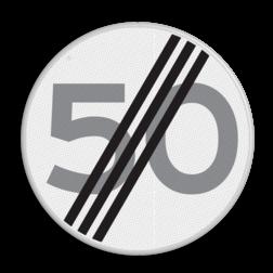 Verkeersbord Einde maximum toegestane snelheid 50 kilometer per uur Verkeersbord RVV A02-00 vrij invoerbaar - Einde maximum snelheid 50 km/h A02-050 snelhiedsbord, snelheidbord, km bord, snelheid, einde, km per uur, 50 kilometer per uur, A2, maximumsnelheid, maximum snelheid, maximalesnelheid, maximale snelheid