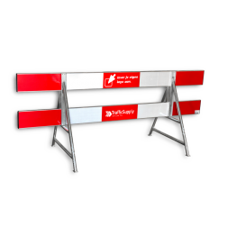 Afzethek aluminium 250cm - gekoppeld - t.b.v. A-standaards geledebaak, baken, hek, afzethek, planken, afzetmateriaal