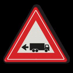Verkeersbord links achteruitrijdende vrachtwagen Verkeersbord links achteruitrijdende vrachtwagen Vrachtwagen, oppassen, achteruit