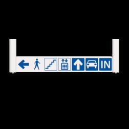 Verwijsbord AUTO RAL9010 1310x200 + reflex | AUTO | Montagestukken 80x80x560mm