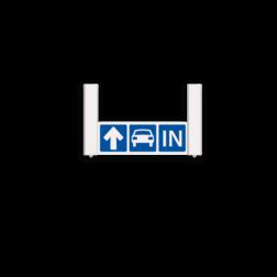 Verwijsbord AUTO RAL9010 570x200 + reflex | AUTO | Montagestukken 80x80mm