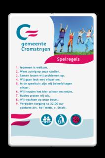 Spelregelbord rechthoek 3:2  full-colour in huisstijl logobord, eigen ontwerp, schoolplein, speciale borden, Cromstrijen