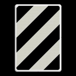 Verkeersbord Verkorte uitvoegstrook Verkeersbord RVV BB04 zwarte schuine strepen, chevron, BB4, BM01, uitvoegen