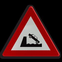 Verkeersbord A11: Uitweg op een kaai of oever Verkeersbord België A11 - Uitweg op een kaai of oever A11 pas op, let op, uitweg, oever, kant, water, RVV J26