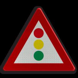 Verkeersbord A33: Verkeerslichten Verkeersbord België A33 - Verkeerslichten A33 pas op, let op, stoplichten, J32