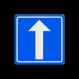 Verkeersbord Eenrichtingsweg Verkeersbord RVV C2 - BELGIË rijrichting, eenrichting, bord met pijl, vierkant bord met pijl, blauw bord met pijl, c3